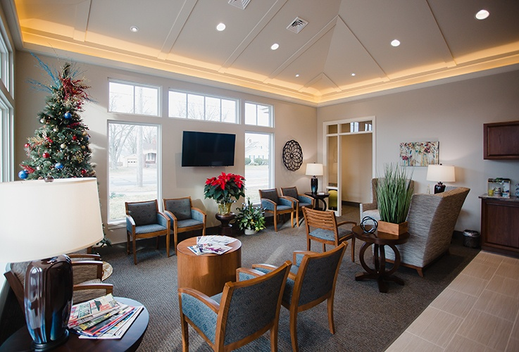 Welcoming dental patient reception area