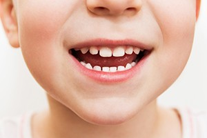 Closeup of child with healthy smile