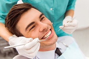 Man in dental chair during treatment